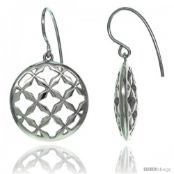Sterling Silver Dangle Circle Earrings w/ 4-Point Star Cut Outs, 1 5/16 in. (33 mm) tall