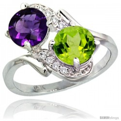 14k White Gold ( 7 mm ) Double Stone Engagement Amethyst & Peridot Ring w/ 0.05 Carat Brilliant Cut Diamonds & 2.34 Carats