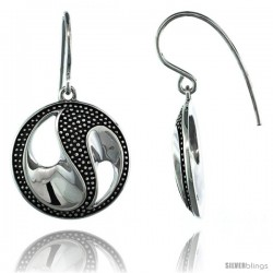 Sterling Silver Dangle Beaded Yin Yang Earrings 1 1/4 in. (31.5 mm) tall