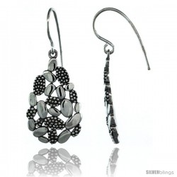 Sterling Silver Dangle Clustered Oval Earrings 1 7/16 in. (37 mm) tall