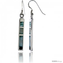 "Sterling Silver Bar Shell Earrings w/ Blue Mother of Pearl inlay, 1 7/8"" (48 mm) tall"