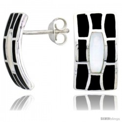 "Sterling Silver Rectangular Post Shell Earrings, w/ Black & White Mother of Pearl inlay, 3/4"" (19 mm) tall"