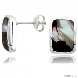 "Sterling Silver Rectangular Post Shell Earrings, w/ Brown & White Mother of Pearl inlay, 1/2"" (13 mm) tall"