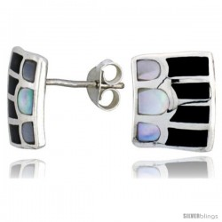 "Sterling Silver Striped Rectangular Post Shell Earrings, w/ Black & White Mother of Pearl inlay, 1/2"" (12 mm) tall"