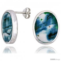 "Sterling Silver Oval Post Shell Earrings, w/ Blue-Green Mother of Pearl inlay, 13/16"" (21 mm) tall"