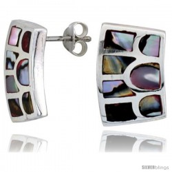 "Sterling Silver Rectangular Post Shell Earrings, w/ Colorful Mother of Pearl inlay, 3/4"" (19 mm) tall"