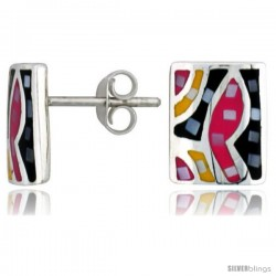 "Sterling Silver Rectangular Post Shell Earrings, w/ Colorful Mother of Pearl inlay, 1/2"" (12 mm) tall"