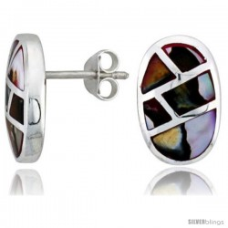 "Sterling Silver Oval Post Shell Earrings, w/ Colorful Mother of Pearl inlay, 5/8"" (16 mm) tall"