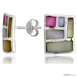 "Sterling Silver Rectangular Post Shell Earrings, w/ Pink & White Mother of Pearl inlay, 9/16"" (15 mm) tall"