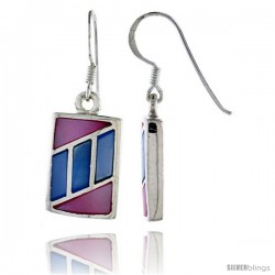 "Sterling Silver Rectangular Shell Earrings, w/ Pink & Blue Mother of Pearl inlay, 1 1/4"" (32 mm) tall"