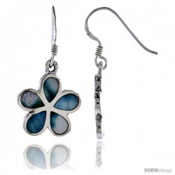 "Sterling Silver Flower Shell Earrings, w/ Blue-Green Mother of Pearl inlay, 1 1/4"" (32 mm) tall"