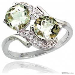 14k White Gold ( 7 mm ) Double Stone Engagement Green Amethyst Ring w/ 0.05 Carat Brilliant Cut Diamonds & 2.34 Carats Round