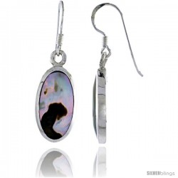"Sterling Silver Oval Shell Earrings, w/ Brown Mother of Pearl inlay, 1 7/16"" (37 mm) tall"