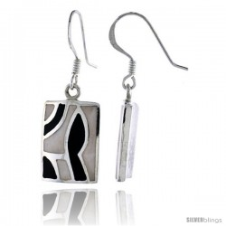 "Sterling Silver Rectangular Shell Earrings, w/ Black & White Mother of Pearl inlay, 1 1/4"" (32 mm) tall"
