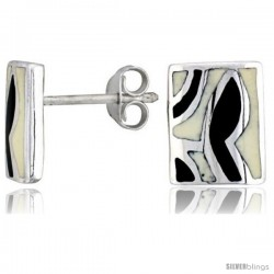 "Sterling Silver Rectangular Shell Earrings, w/ Black & White Mother of Pearl inlay, 1/2"" (12 mm) tall"