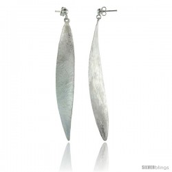 Sterling Silver Frosted Finish Wavy Dangle Oval Earrings, 3 3/8 (86m) tall