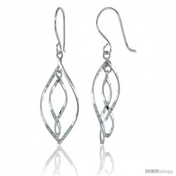 Sterling Silver Wavy Diamond Cut Outs Dangle Earrings, 1 5/8 (41 mm) tall