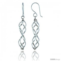 Sterling Silver Hourglass Shape Dangle Spiral Earrings, 1 3/4 (45 mm) tall