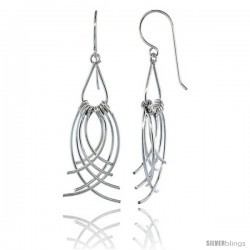 Sterling Silver Pear Cut Out w/ Curvy Wires Dangle Earrings, 1 7/8 (48 mm) tall