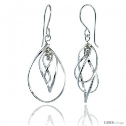 Sterling Silver Curvy Pear Cut Outs Dangle Earrings, 1 1/2 (38 mm) tall