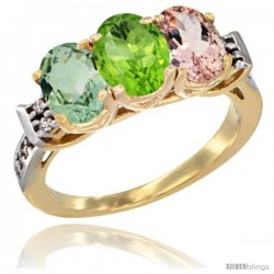 10K Yellow Gold Natural Green Amethyst, Peridot & Morganite Ring 3-Stone Oval 7x5 mm Diamond Accent