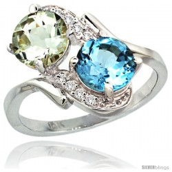 14k White Gold ( 7 mm ) Double Stone Engagement Green Amethyst & Swiss Blue Topaz Ring w/ 0.05 Carat Brilliant Cut Diamonds