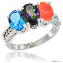 14K White Gold Natural Swiss Blue Topaz, Mystic Topaz & Coral Ring 3-Stone 7x5 mm Oval Diamond Accent