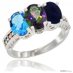 14K White Gold Natural Swiss Blue Topaz, Mystic Topaz & Lapis Ring 3-Stone 7x5 mm Oval Diamond Accent
