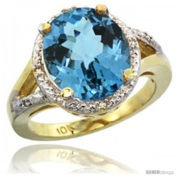10k Yellow Gold Ladies Natural London Blue Topaz Ring oval 12x10 Stone