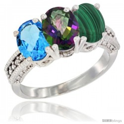 14K White Gold Natural Swiss Blue Topaz, Mystic Topaz & Malachite Ring 3-Stone 7x5 mm Oval Diamond Accent