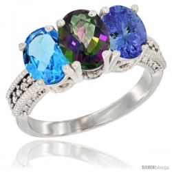 14K White Gold Natural Swiss Blue Topaz, Mystic Topaz & Tanzanite Ring 3-Stone 7x5 mm Oval Diamond Accent
