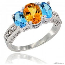 14k White Gold Ladies Oval Natural Citrine 3-Stone Ring with Swiss Blue Topaz Sides Diamond Accent