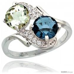 14k White Gold ( 7 mm ) Double Stone Engagement Green Amethyst & London Blue Topaz Ring w/ 0.05 Carat Brilliant Cut Diamonds