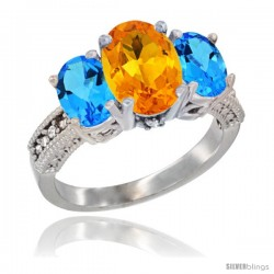14K White Gold Ladies 3-Stone Oval Natural Citrine Ring with Swiss Blue Topaz Sides Diamond Accent