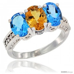 14K White Gold Natural Citrine & Swiss Blue Topaz Sides Ring 3-Stone 7x5 mm Oval Diamond Accent