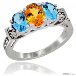14K White Gold Natural Citrine & Swiss Blue Topaz Ring 3-Stone Oval with Diamond Accent