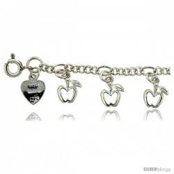 Sterling Silver Apples Charm Bracelet
