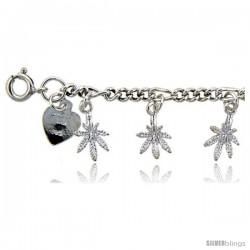 Sterling Silver Figaro Link Pot Leaf Charm Bracelet