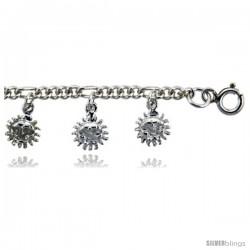 Sterling Silver Sun Charm Bracelet