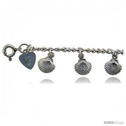 Sterling Silver Shells Charm Bracelet