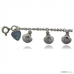 Sterling Silver Shells Charm Anklet