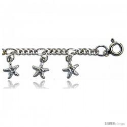 Sterling Silver Stars Charm Bracelet