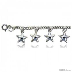 Sterling Silver Stars Charm Bracelet -Style 6cb523