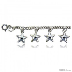 Sterling Silver Stars Charm Anklet -Style 6cb523a