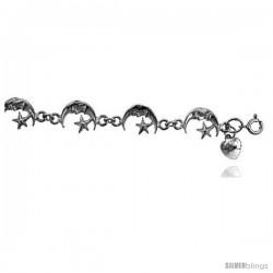 Sterling Silver Crescent Moon Charm Bracelet