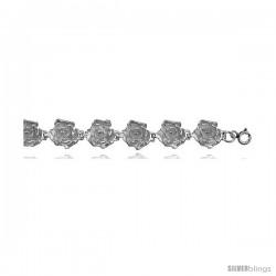 Sterling Silver Plumeria Flower Charm Bracelet -Style 6cb530