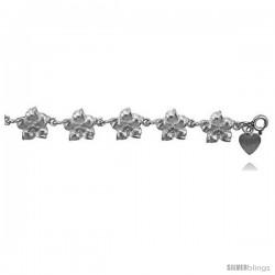 Sterling Silver Plumeria Flower Charm Bracelet -Style 6cb531