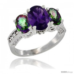 10K White Gold Ladies Natural Amethyst Oval 3 Stone Ring with Mystic Topaz Sides Diamond Accent