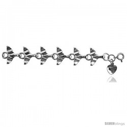 Sterling Silver Whale Tail Charm Bracelet