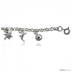 Sterling Silver Nautical Charm Bracelet -Style 6cb544